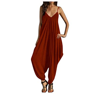 HIRIRI Women's Spaghetti Strap Jumpsuit V Neckline Camisole Comfy Loose Harem One Piece Romper: Clothing