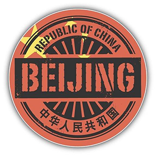 Price comparison product image Beijing City China Flag Grunge Stamp Vinyl Decal Bumper Sticker 5'' X 5''