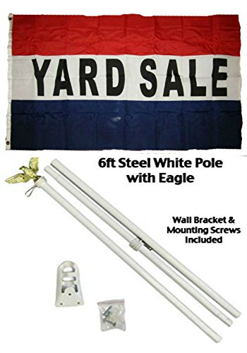 3x5 Advertising Yard Sale Red White Blue Flag White Pole Kit