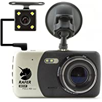 Rafer H84 Car Camera 6-layer Glass 150° and Rear Camera 140° Wide Angle lens Dash Cam Parking monitor Night Vision 1080P HD Video Parking Monitor G-Sensor Motion Detection 4.0inch TFT LCD Screen