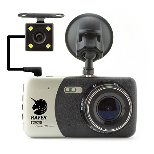 Rafer H84 Car Camera 6-layer Glass 150° and Rear Camera 140° Wide Angle lens Dash Cam Parking monitor Night Vision 1080P HD Video Parking Monitor G-Sensor Motion Detection 4.0inch TFT LCD Screen (4 Inch Color Tft Screen)