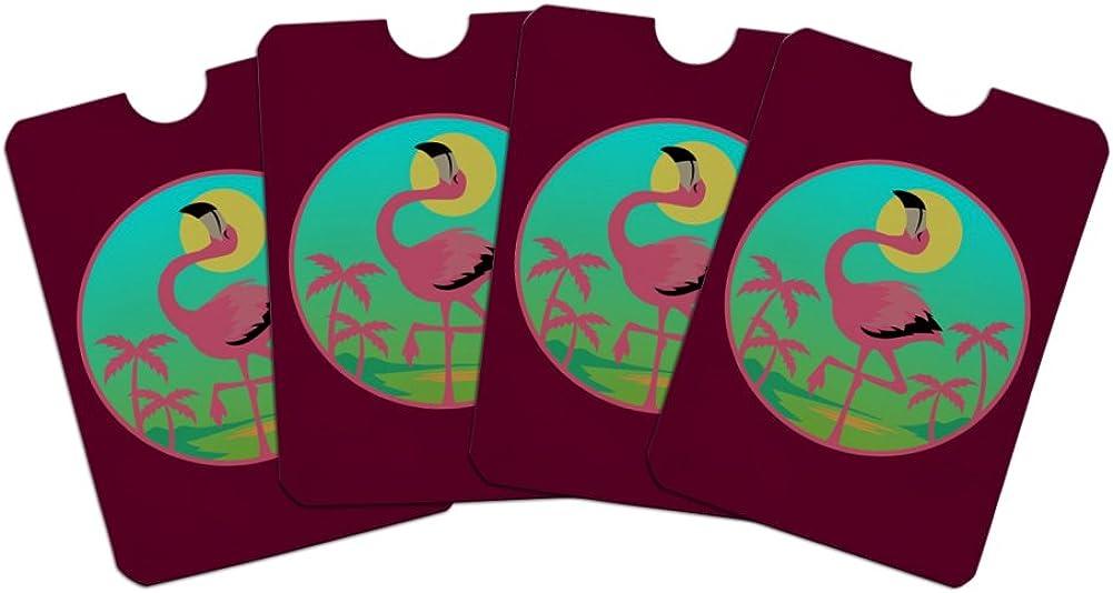 Flamingo Palm Trees Tropical Vacation Credit Card RFID Blocker Holder Protector Wallet Purse Sleeves Set of 4