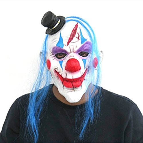 YUFENG Halloween Latex Adult Killer Clown Mask With Hair,Halloween Costume Party Props Masks -