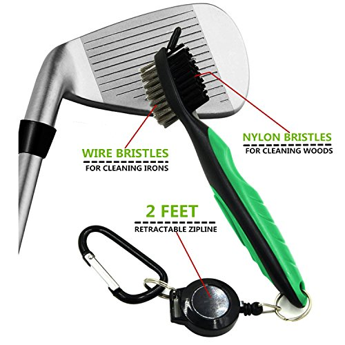 Yoport Two Pack Golf Club Brush and Club Groove Cleaner 2 Ft Retractable Zip-line Aluminum Carabiner, Lightweight and Stylish, Ergonomic Design, Easily Attaches to Golf Bag (red+Green) by Yoport (Image #4)