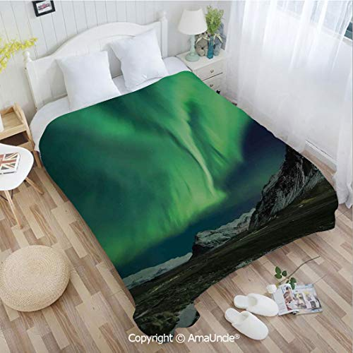 AmaUncle Custom Flannel Blanket W47.25 xL78.74 Bathroom Decor,Flash of Aurora Polaris Above Mountains in Night Picture Super Soft Lightweight Breathable Sleeping Blanket