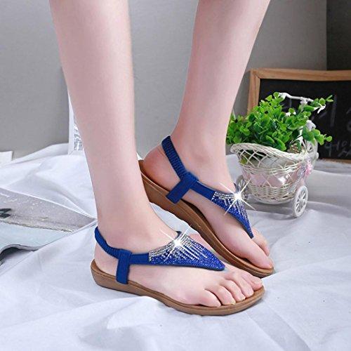Hunpta Frauen flache Schuhe Sandalen Pailletten Böhmen Freizeit Lady Peep Toe Flip Flops Schuhe Blau