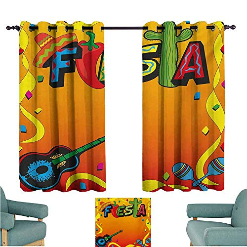 DONEECKL Sliding Curtains Fiesta Latino Pattern with Swirled Stripe Frame with Musical Instruments Confetti Design Blackout Draperies for Bedroom Living Room W55 xL45 Multicolor