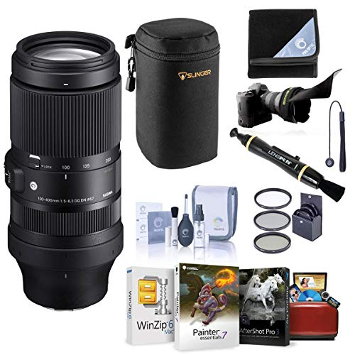 Sigma 100-400mm f/5-6.3 DG DN OS Contemporary Lens for Sony E - Bundle with Lens Case, 67mm Filter Kit, Flex Lens Shade, LensPen Lens Cleaner, Lens Wrap, Capleash, Cleaning Kit, Mac Software Package