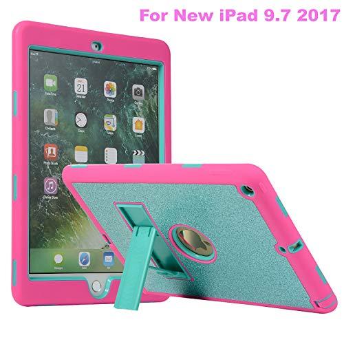 iPad 9.7 2018/2017 Case, ZERMU [Kickstand] 3in1 Heavy Duty Shockproof Rugged Silicone+Hard PC Bumper Glitter Sparkle Bling Shining Fashion Style Hybrid Sturdy Defender Case for iPad 5/6th Generation