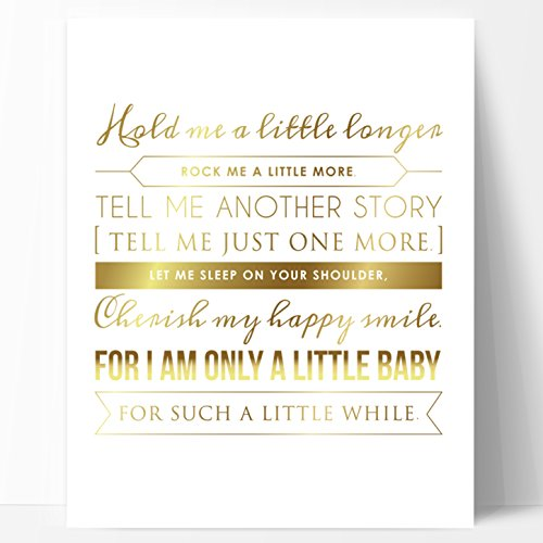 Ocean Drop Designs Nursery Art Decor Gold Foil Print - Unique New Baby Gift, Baptism Gift, Christening Gift, 11x14 Nursery Art Print