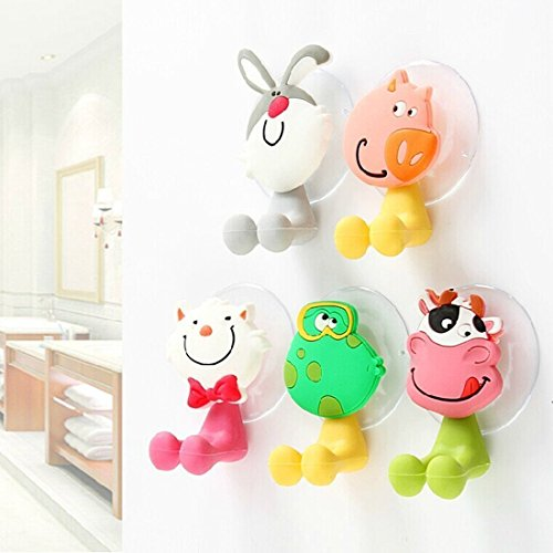 Toothbrush Holder,Wuudi(TM) Antibacterial Toothbrush Cover Holder with Suction Cup 5 Animals …