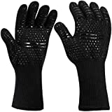 Green House BBQ Grill Gloves 1472°F Heat Resistant Silicone Grilling Cooking Gloves Kitchen Oven Mitts for Barbecue, Baking, Smoking-35cm (Black)