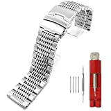 Solid Stainless Steel Watch Bracelet Mesh Band Wristband 22mm Silver with Push Button Deployment Clasp