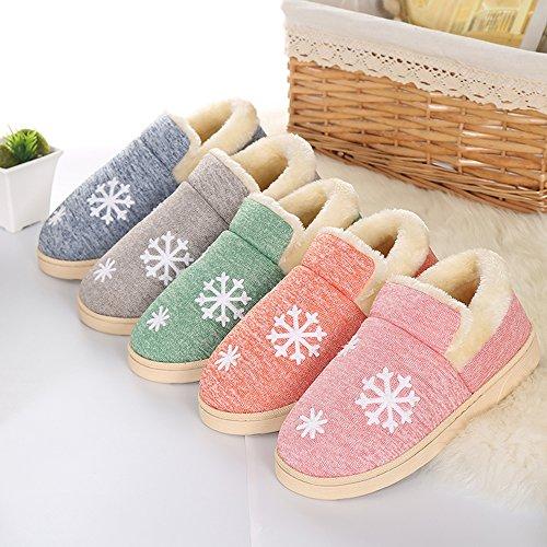 JACKSHIBO Unisex Plüsch Baumwolle Pantoffeln Weiche Leicht Wärmehausschuhe Rutschfeste Slippers für Damen Pink2