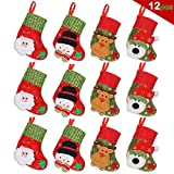 "JoyLionKay Cute Christmas Mini Stocking 6-1/4"" Great Gift Xmas Party Favors Supplies Decorative Little Treats Santa 3D Rustic Stockings Goodies Bags Stuff Silverware/Utensils Holders 12 Pack"