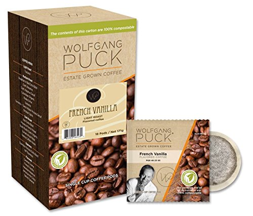 Shaped Disk Pack - Wolfgang Puck Coffee, French Vanilla Coffee, 9.5 Gram Pods, 18 Count