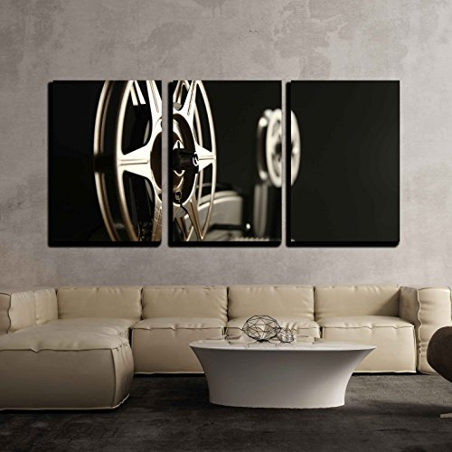 """wall26 - 3 Piece Canvas Wall Art - Close-Up of the Film Reels on a Vintage 8mm Film Projector in a Dark Room - Modern Home Decor Stretched and Framed Ready to Hang - 24""""x36""""x3 Panels"""