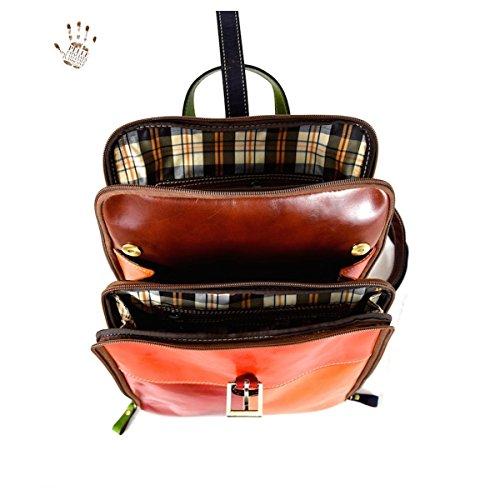 Zaino Donna In Pelle Vera 3 Scomparti Colore Marrone - Pelletteria Toscana Made In Italy - Linea Prestige
