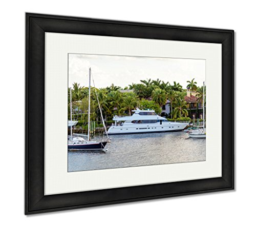 Ashley Framed Prints Fort Lauderdale Canals In Las Olas Boulevard Florida USA, Office/Home/Kitchen Decor, Color, 30x35 (frame size), Black Frame, - Lauderdale Olas Las Fort In
