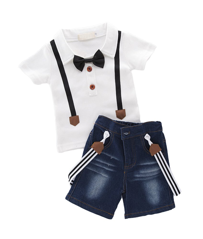 AvaCostume Little Boys 3Pcs Clothing Set Jeans Suspenders and White Shirts, 2T