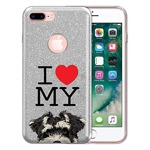 FINCIBO Case Compatible with Apple iPhone 7 Plus / 8 Plus, Shiny Silver Bling Glitter TPU Protector Cover Case for iPhone 7 Plus / 8 Plus (NOT FIT iPhone 7/8) - I Love My Schnauzer Puppy Dog