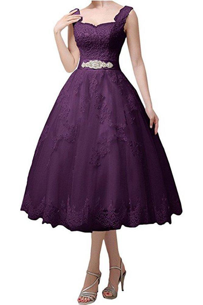 Jdress Women's Vintage Short Tea Length Lace Wedding Dresses for Bride 2017