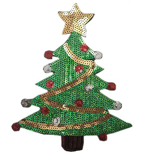 (Zeroyoyo Exquisite Xmas DIY Decorative Patches Embroidery Accessories Iron on Sequins Applique Green Christmas Tree Motif)