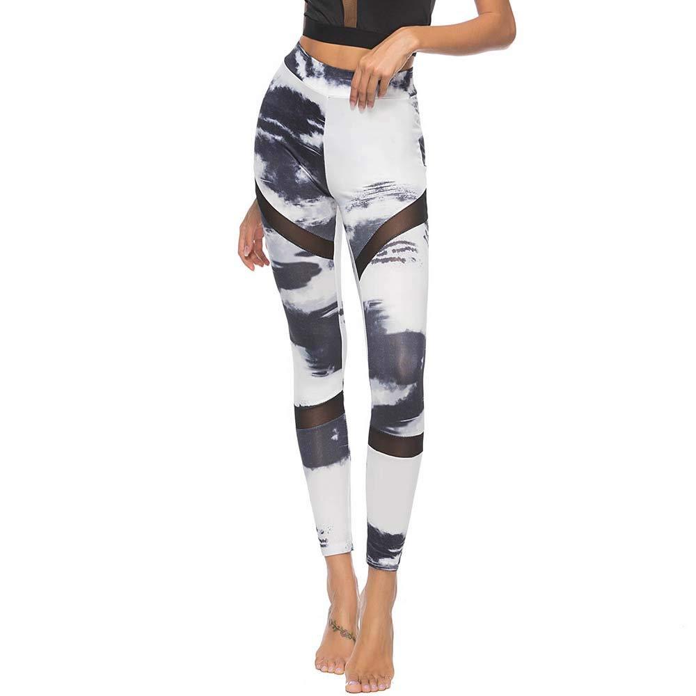 YWLINK Damen UnregelmäßIg Drucken Workout Leggings Fitness Sportstudio Laufen Mesh Patchwork Yoga Athletische Hosen
