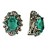 BriLove Antique-Gold-Toned Clip-On Earrings Women's Victorian Style Crystal Floral Cameo Inspired Oval Earrings Emerald Color
