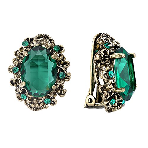BriLove Victorian Style Clip On Earrings for Women Crystal Floral Cameo Inspired Oval Earrings Emerald Color Antique-Gold-Toned
