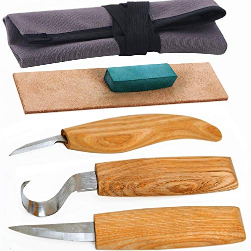 DUGATO Wood Carving Tools Set for Spoon Carving 3 Knives in Tools Roll Leather Strop and Polishing Compound Hook Sloyd Detail Knife (5pcs)