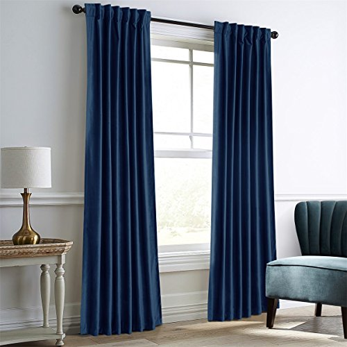 "Dreaming Casa Royal Blue Velvet Room Darkening Curtains for Living Room,Thermal Insulated Rod Pocket/Back Tab Window Curtain for Bedroom(2 Top Construction Combination,52"" Wx96 L)"