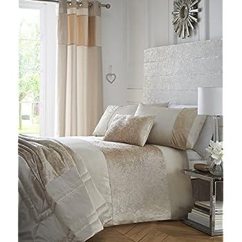 boulevard crushed velvet cream quilt duvet cover bedding set king by tonys textiles - Velvet Bedding