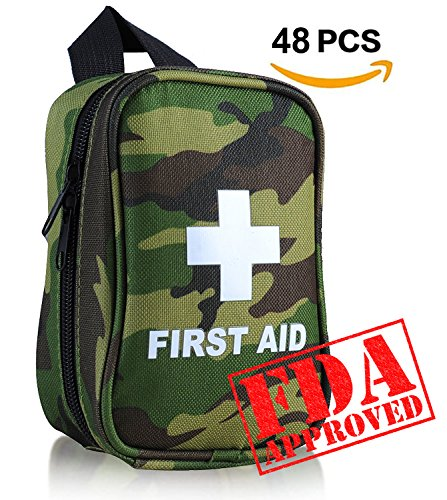 First Aid Kit No Hands Carry Hang on Waist FDA OSHA Small Great Compact First Aid Kit in Emergency for Outdoor Survival Camping Hiking Backpack Biking Travel Sports Car Home (Military Waterproof First Aid Kit)