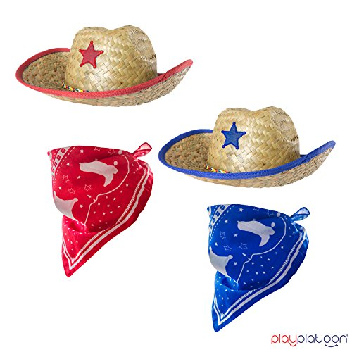 Dozen Straw Cowboy Hats with Cowboy Bandanas (6 Red & 6 Blue) for Kids - Makes Great Birthday Party Hats for Boys and Girls by Play Platoon (Image #6)