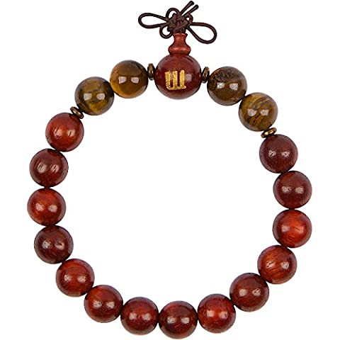 WOODIES Tiger Eye and Rose Wood Bead Bracelet (Wood Meditation Beads)