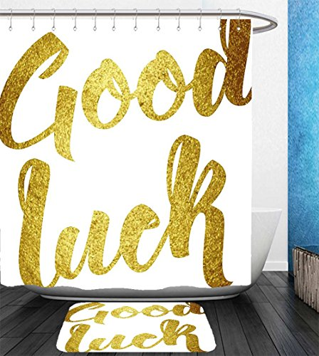 Beshowereb Bath Suit  Showercurtain Bathrug Bathtowel Handtowel Going Away Party Decorations Good Luck Wish Note Hand Written Lettering Greeting Card Concept Gold