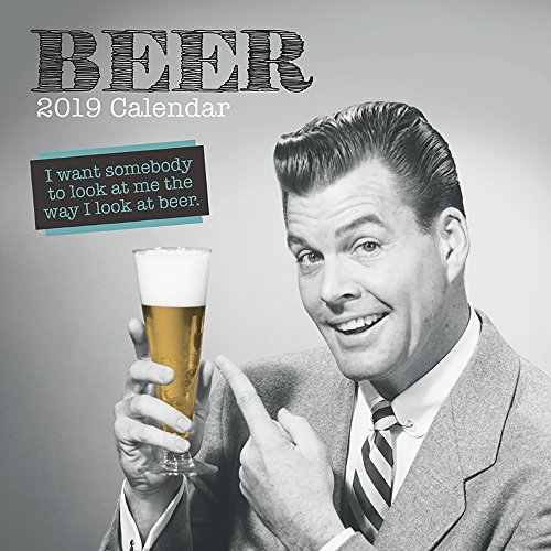 2019 Wall Calendar - Beer Calendar, 12 x 12 Inch Monthly View, 16-Month, Funny Drinking Quotes Theme, Includes 180 Reminder Stickers ()