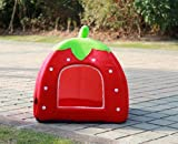 SKL Cotton & Cashmere Strawberry Style Dog Cat House Size S M L (Red, L)