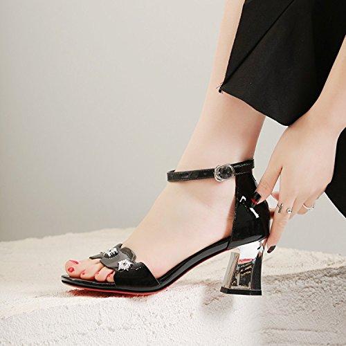 Jqdyl High Heels Weibliche Sandalen Fischmaul Thick High Heels Wild  39|Black