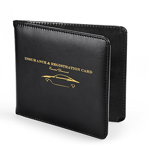 (Nogis Slim Thin Leather Wallet Holder for Auto Car Insurance Registration, Driver License, Credit Card ID, Car Document ID with Strong Magnetic, Black)