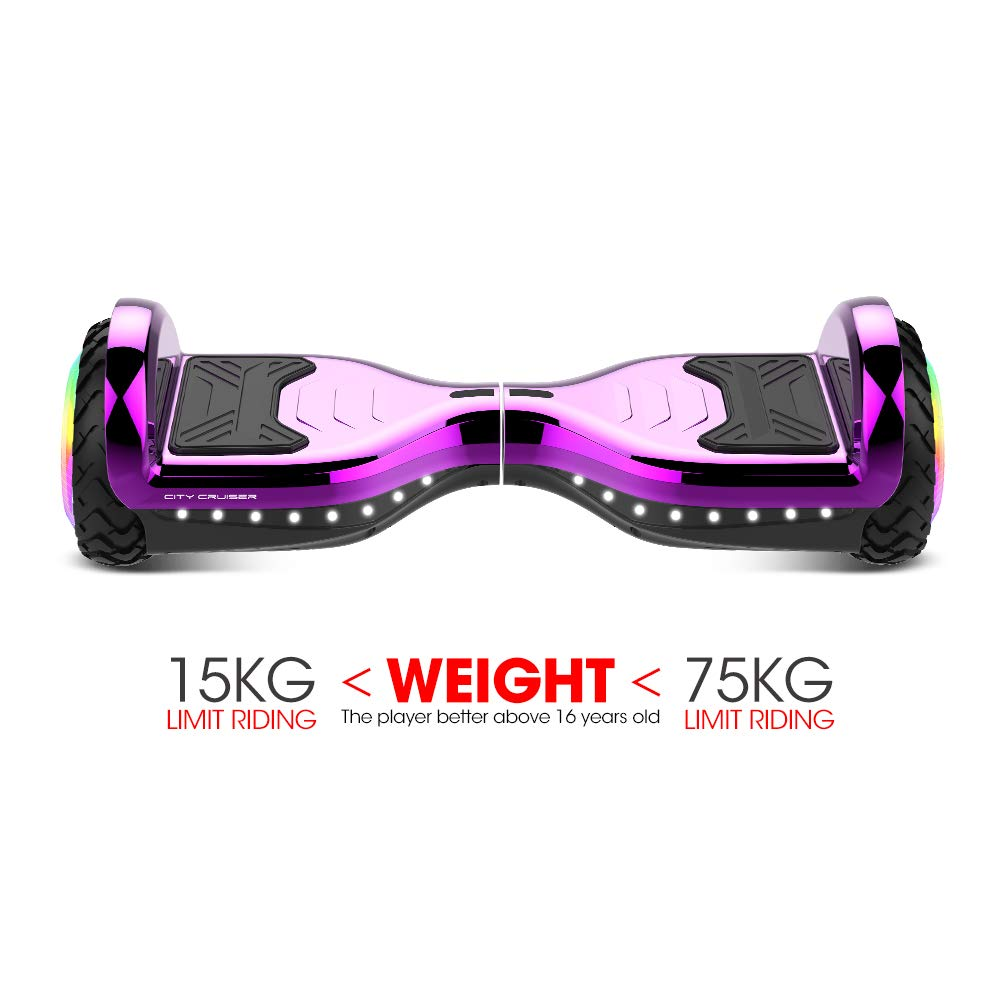 CITY CRUISER Hoverboard with Bluetooth Speaker, LED Light by UL 2272 Certified Best Gift for Kids Purple by CITY CRUISER (Image #7)
