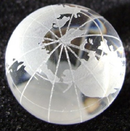 60mm Clear World Map Handmade Collectible Earth Marble W Glass Stand