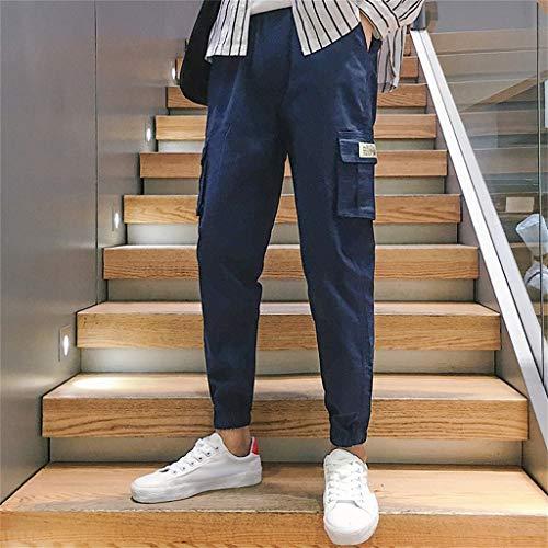 Travail Nouveaux Pantalons Coton Neuf Sarouel Minutes 2019 De En Mode Amples Salopettes Lâche Solides Décontractés Bleu Hommes Moonuy 7RqxF5w