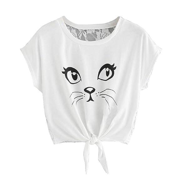 DOGZI Blusas para Mujer Verano Camisa De Manga Corta Casual Cuello Redondo Impreso para Mujer Blusas