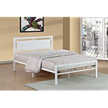 Queen Size White Metal Frame with White Leatherette Padded Headboard Bed