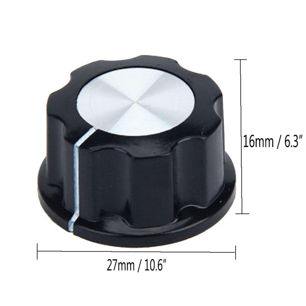 Giratorio Perillas Potenci/ómetro,4 piezas 27 mm Redondos Potenci/ómetros Giratorios Perillas para Potenci/ómetro de Eje de 6 mm de Di/ámetro