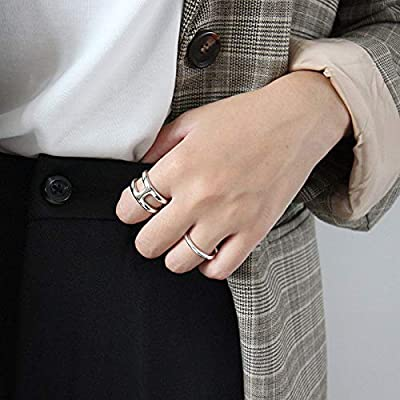 SILBERTALE Sterling Silver H Shaped Line Open Band Rings Adjustable Size 5.5-7.5 12mm Width Finger Ring