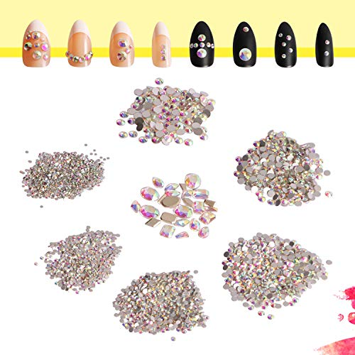 (2100pcs Round & 25pcs Multi-Shapes AB Shine Crystal Rhinestones Jewel Gems Round Beads Flatback Glass Charms for DIY Craft Manicure Nails Decoration Art Beauty Face Body Makeup Clothes Phone Case Art)