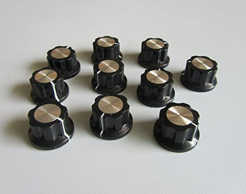 Guitar Effects Pedal Knobs Push on Knob Fits Boss Effects Black w/ Chrome Cap, 10 Pcs (Chrome Amp Black)